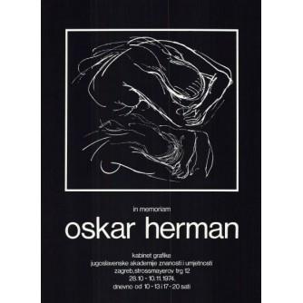 IN MEMORIAM OSKAR HERMAN PLAKAT IZLOŽBE, 1974. KABINET GRAFIKE JUGOSLAVENSKE AKADEMIJE ZNANOSTI I UMJETNOSTI : DIZAJN IVAN PICELJ